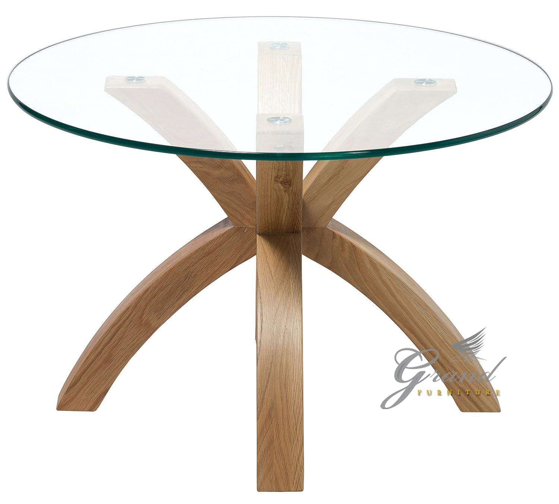 Living Room Furniture Phoenix New Phoenix Solid Oak Glass Lamp Side End Table Modern Clear