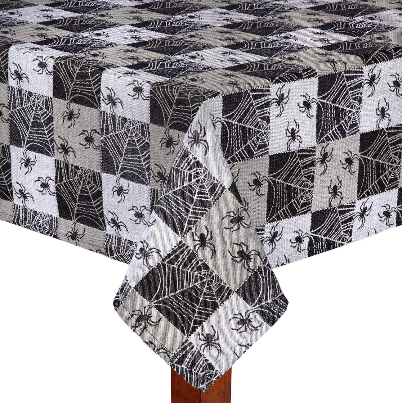 Nantucket Home Black Checkered Spider Web Cotton Fabric Jacquard Halloween Tablecloth (60' Round)