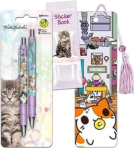 Cat Office Supplies Set - 2 Keith Kimberlin Cats Gel Pens, Kleptocats Bookmark with Over 90 Bonus Stickers (Cat Office Supplies)
