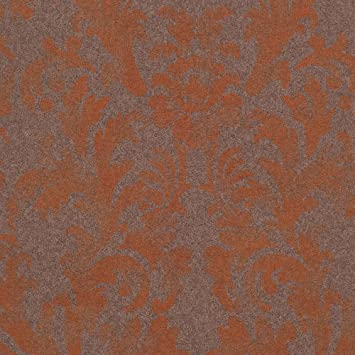 Star Fade Dark Brownorange Damask Vinyl Wallpaper For Walls