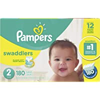 Pampers Diapers Size 2, Swaddlers Disposable Baby Diapers, 180 Count, Economy Pack Plus