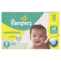 Pampers Swaddlers Disposable Baby Diapers Size 2, Economy Pack Plus, 180 Count