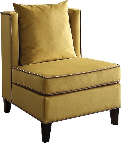 ACME Furniture Ozella Accent Chair, Yellow Velvet