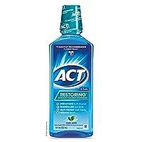 ACT Restoring Fluoride Mouthwash, 18 fl. oz, Strengthens Tooth Enamel, Cool Mint