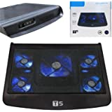 Laptop and Notebook USB Cooling Cooler Stand Pad with 5 Fans and Blue LED - 10-17 Inches T5