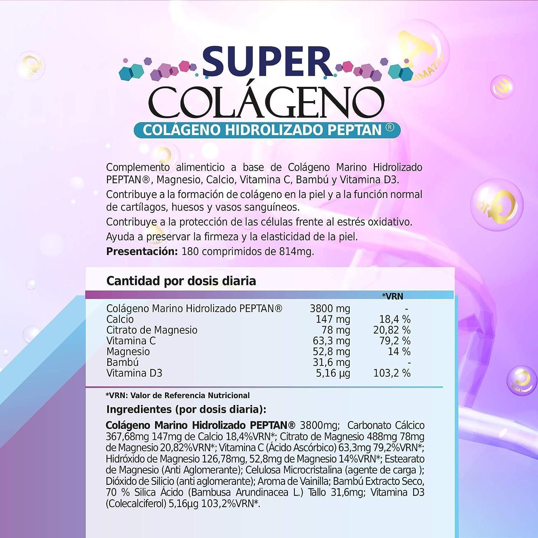 Colágeno marino hidrolizado Peptan con magnesio + bambú + calcio + vitaminas C y D3 | Reafirmante e hidratante de la piel | Protege y cuida las articulaciones, huesos, cabello, y uñas |