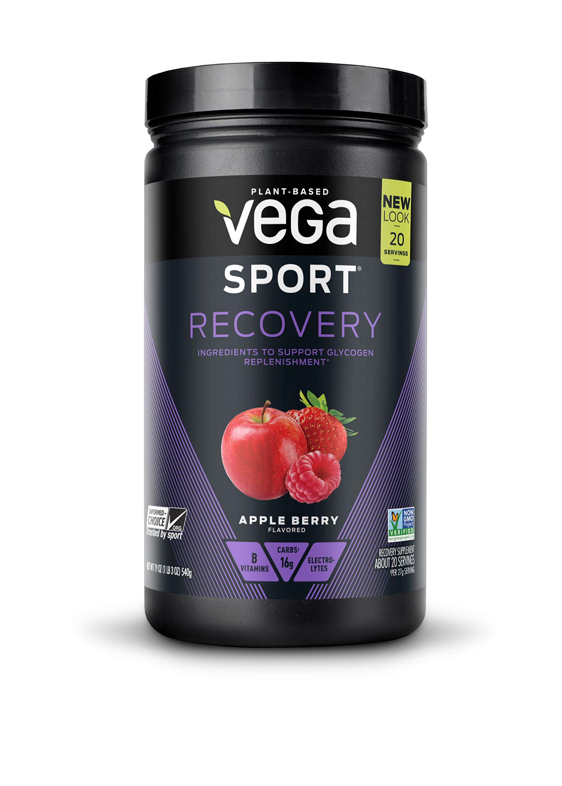 Vega Sport Recovery Apple Berry (20 Servings, 19oz) - Vegan, Non Dairy, Gluten Free, Pre Workout Recovery, BCAAs, Non GMO (Packaging May Vary)