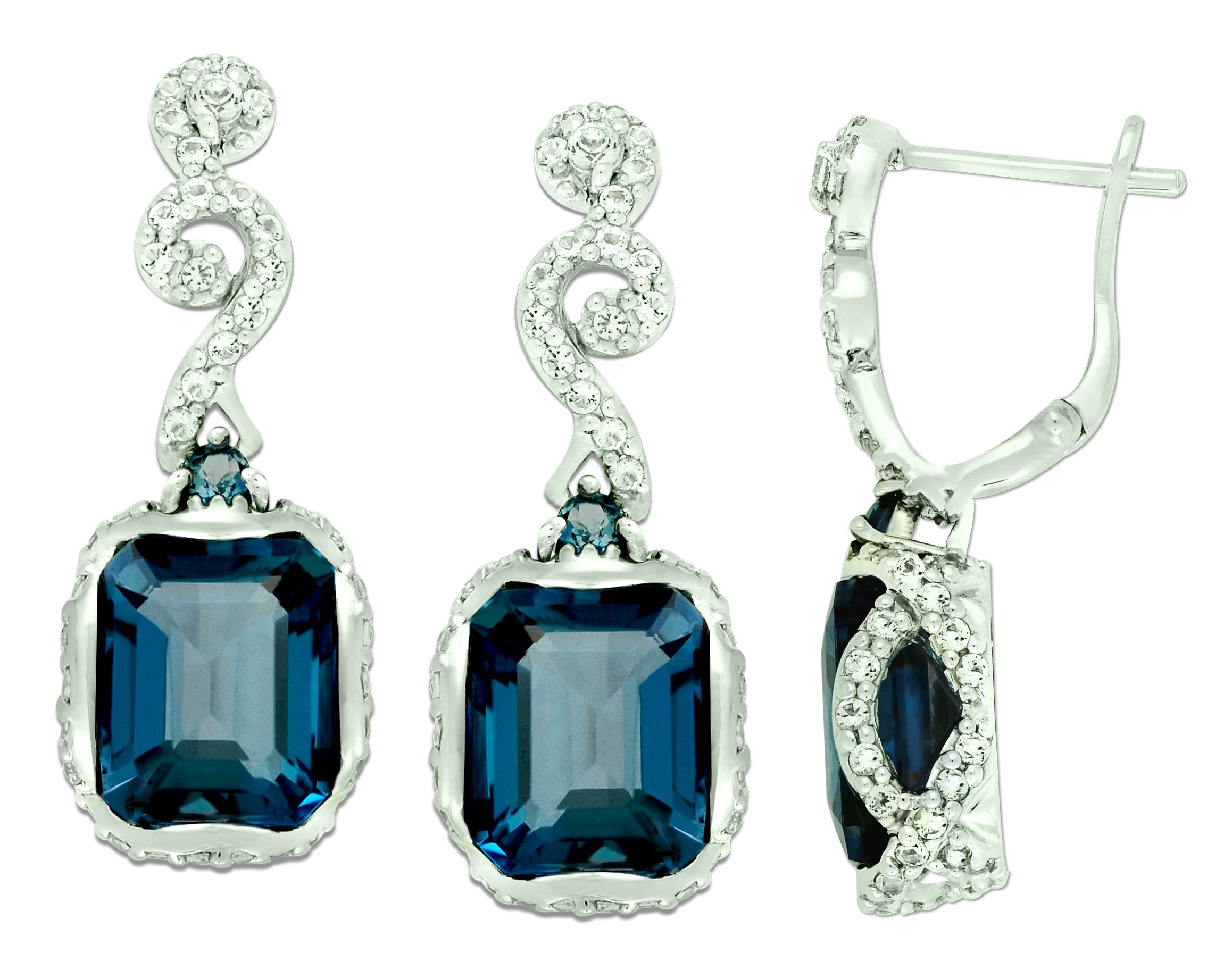 Sterling Silver 925 Earrings GENUINE LONDON BLUE TOPAZ 13.10 Cts with RHODIUM-PLATED Finish, DANGLE Style (london-blue-topaz) by RB Gems
