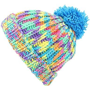 0b6d8f2976a973 Hawkins Children's Chunky Rainbow Knit Bobble Beanie Hat - Blue Bobble