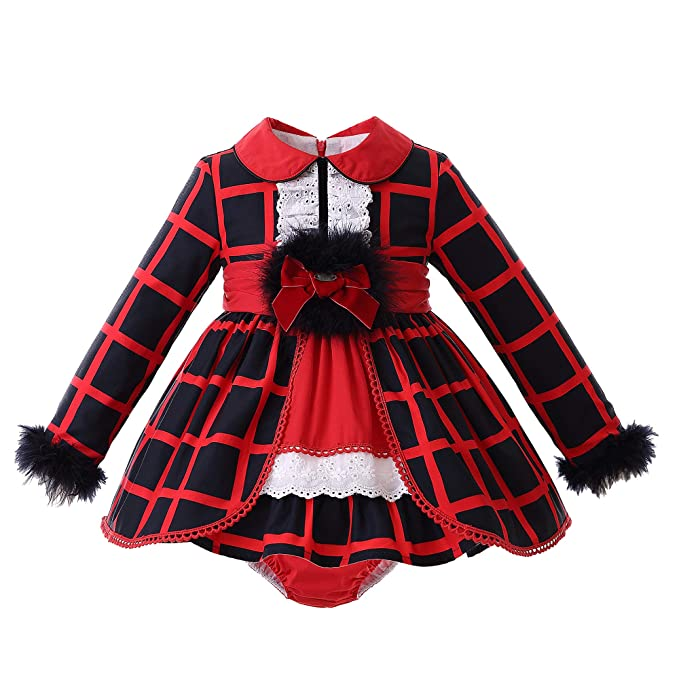64e5726e5 Ju petitpop Babygirl Winter Check Dress Fur Sleeve Cuff: Amazon.co.uk:  Clothing