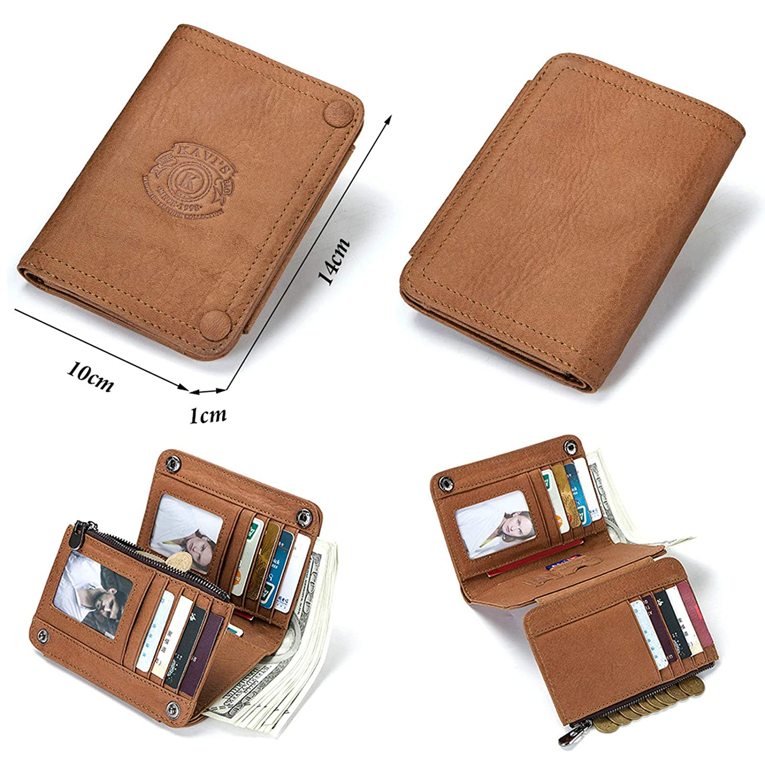 EoCot Mens Cowhide Leather Multifunctional Wallets Trifold Wallet Coin Purse with 2 ID Window BrownWallet