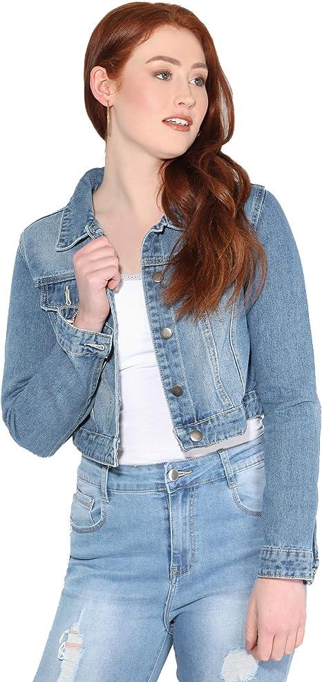 Veste Jean Femme Courte Bleu Taille Mode Pas Cher Poches
