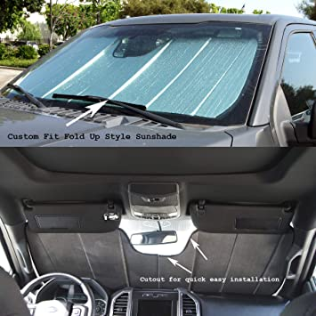 Tuningpros SS-336 Custom Fit Car Windshield Sun Shade Protector Sunshade Visor Silver /& Grey 1-pc Set Compatible With 2016-2019 Toyota Tacoma N300