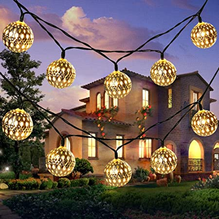 Amazon Com Solar String Light Outdoor Goodia 30 Led Gold Moroccan Waterproof Warm White String Lights For Curtain Bedroom Patio Lawn Landscape Fairy Garden Home Wedding Holiday Christmas Tree New Year Party