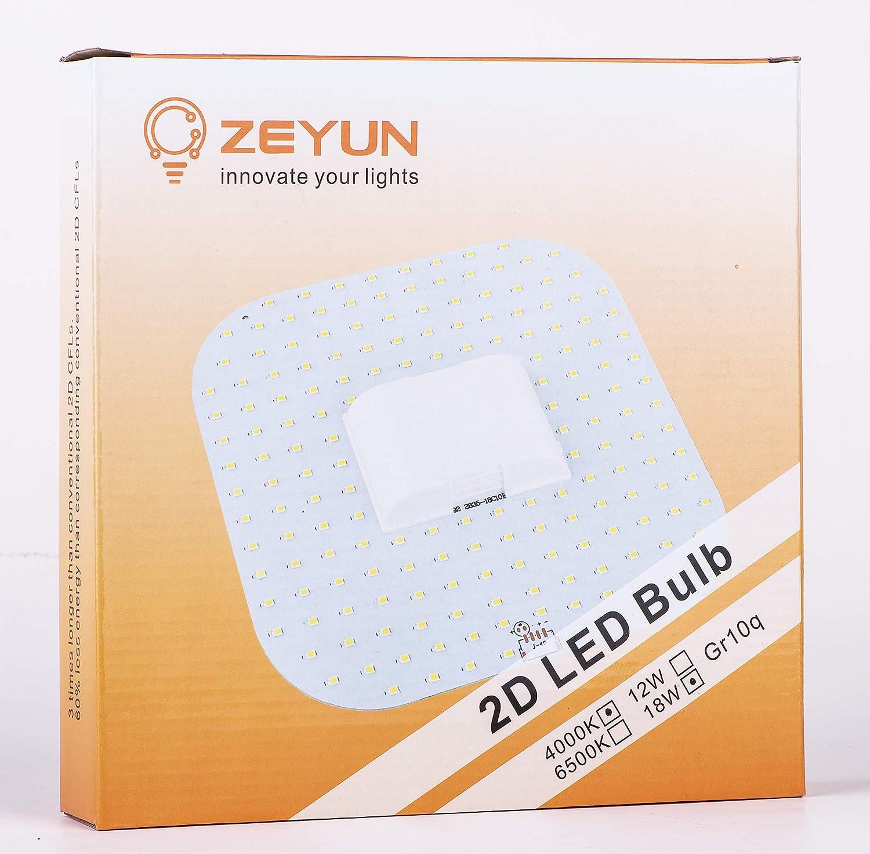 2D-Kompakt-Leuchtstofflampe DD Lampe 4000K 4-Pin LED Lampe ZEYUN 2D 18W GR10q
