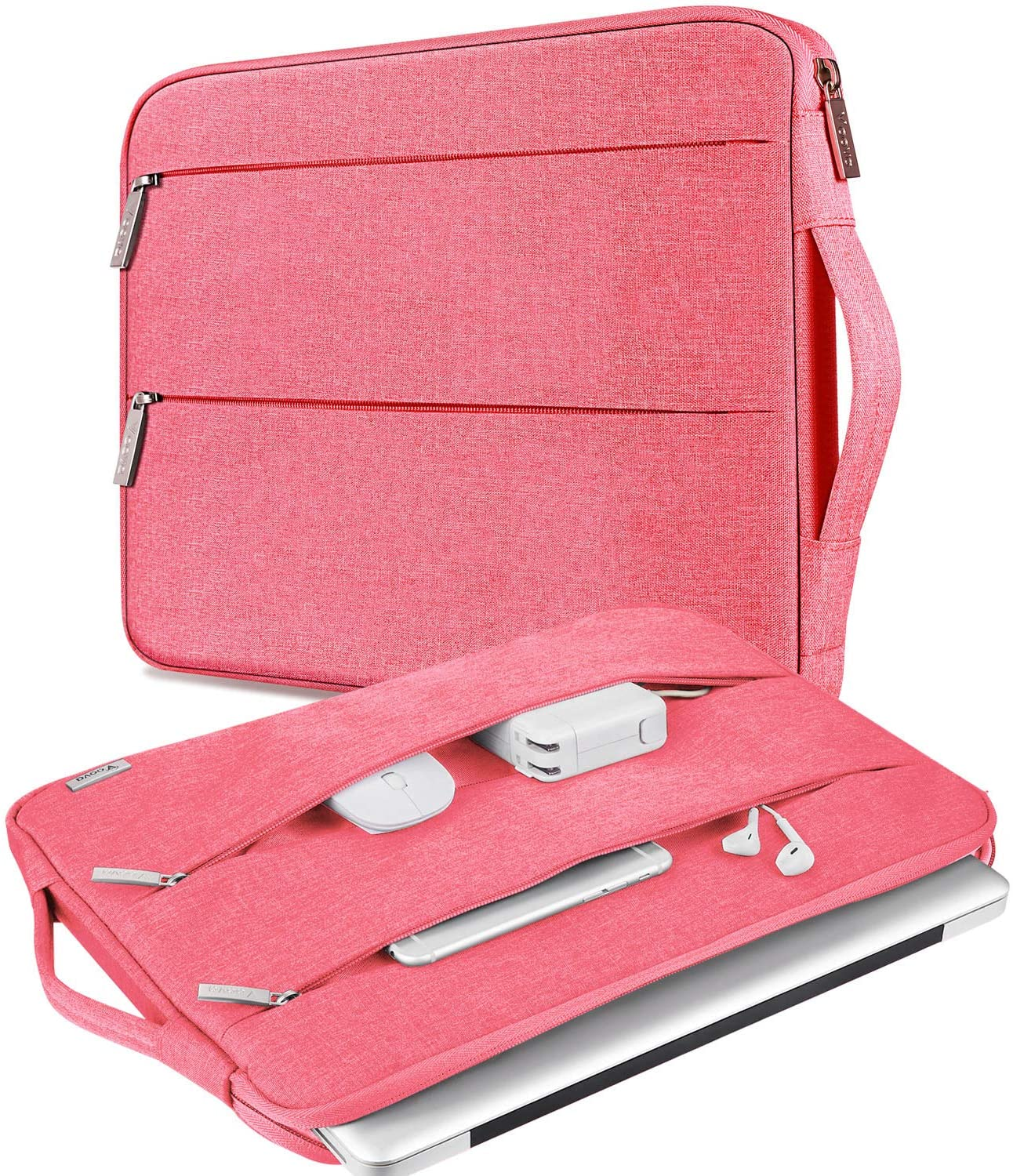 V Voova 13-13.5 inch Laptop Sleeve Bag Water Resistant Chromebook Case with Handle Compatible with MacBook Pro,MacBook Air,Lady Girl's Briefcase Notebook Slim Computer Cover with Handle,Pink