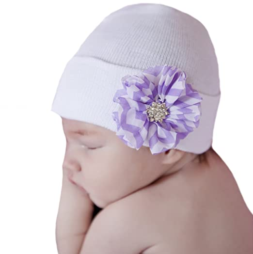 85457b03689e6 Image Unavailable. Image not available for. Color  Melondipity s Newborn  Girl Hospital Hat with Purple and White Chevron Striped Flower