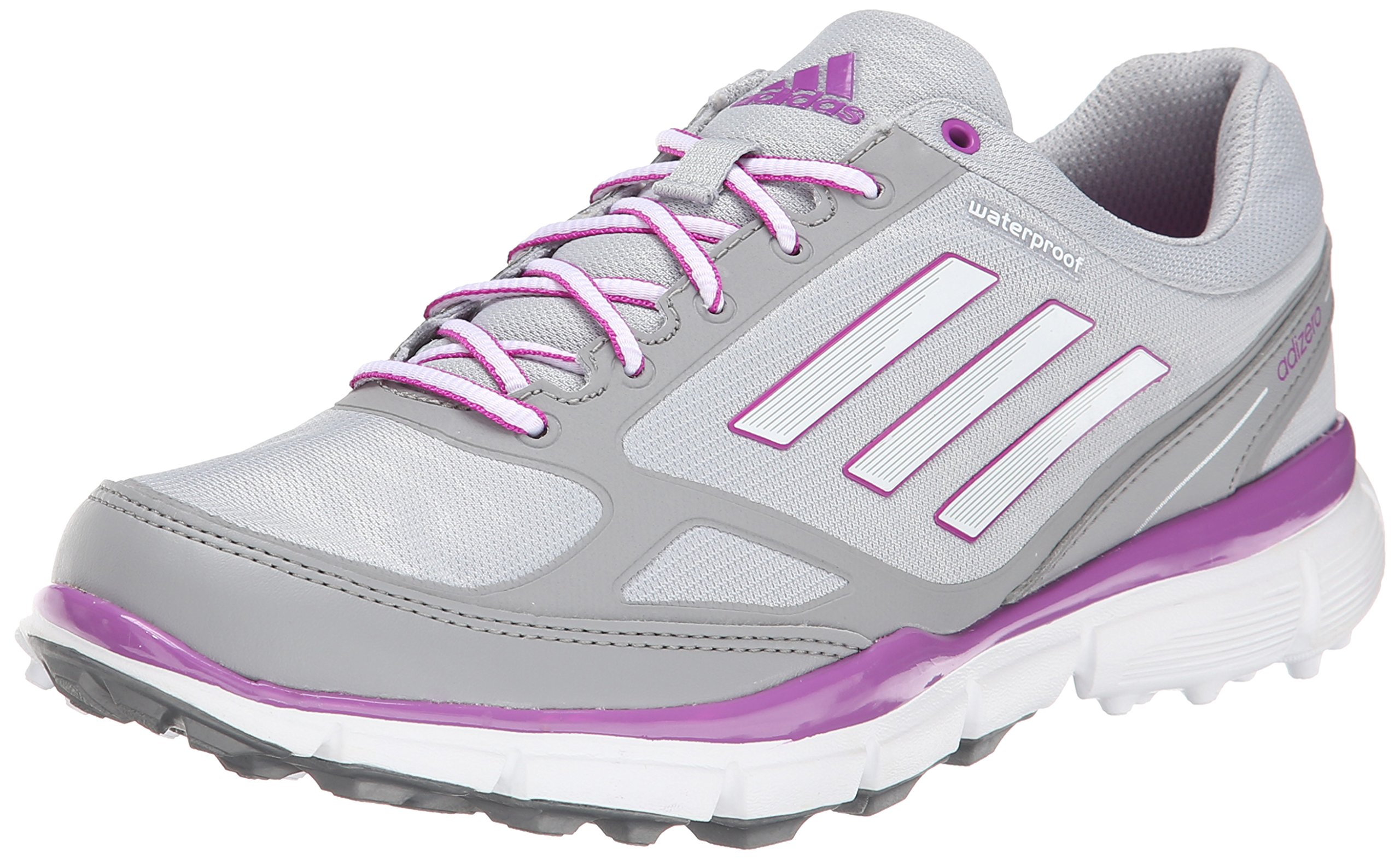 adidas Women's W Adizero Sport III Golf Shoe, Clear Onix/Running White/Flash Pink, 9.5 M US