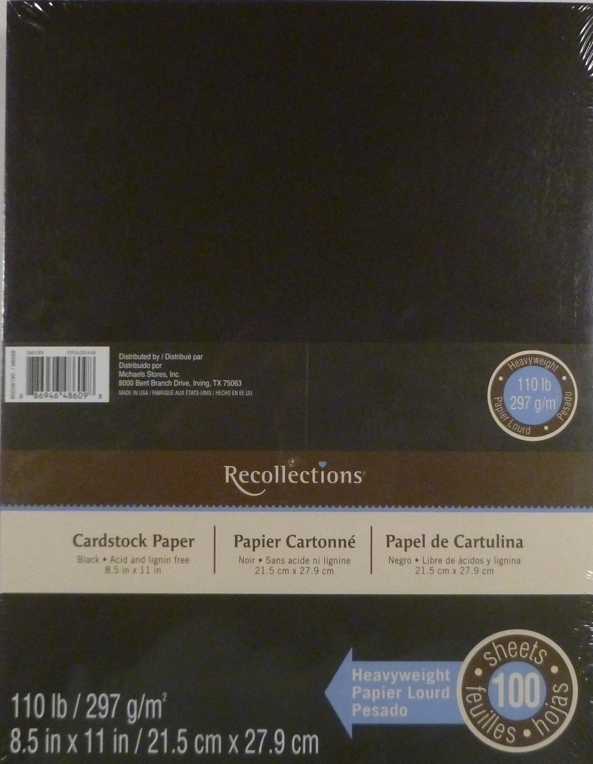Recollections Black Heavyweight Cardstock Paper, 8.5'' X 11'' - 100 Sheets