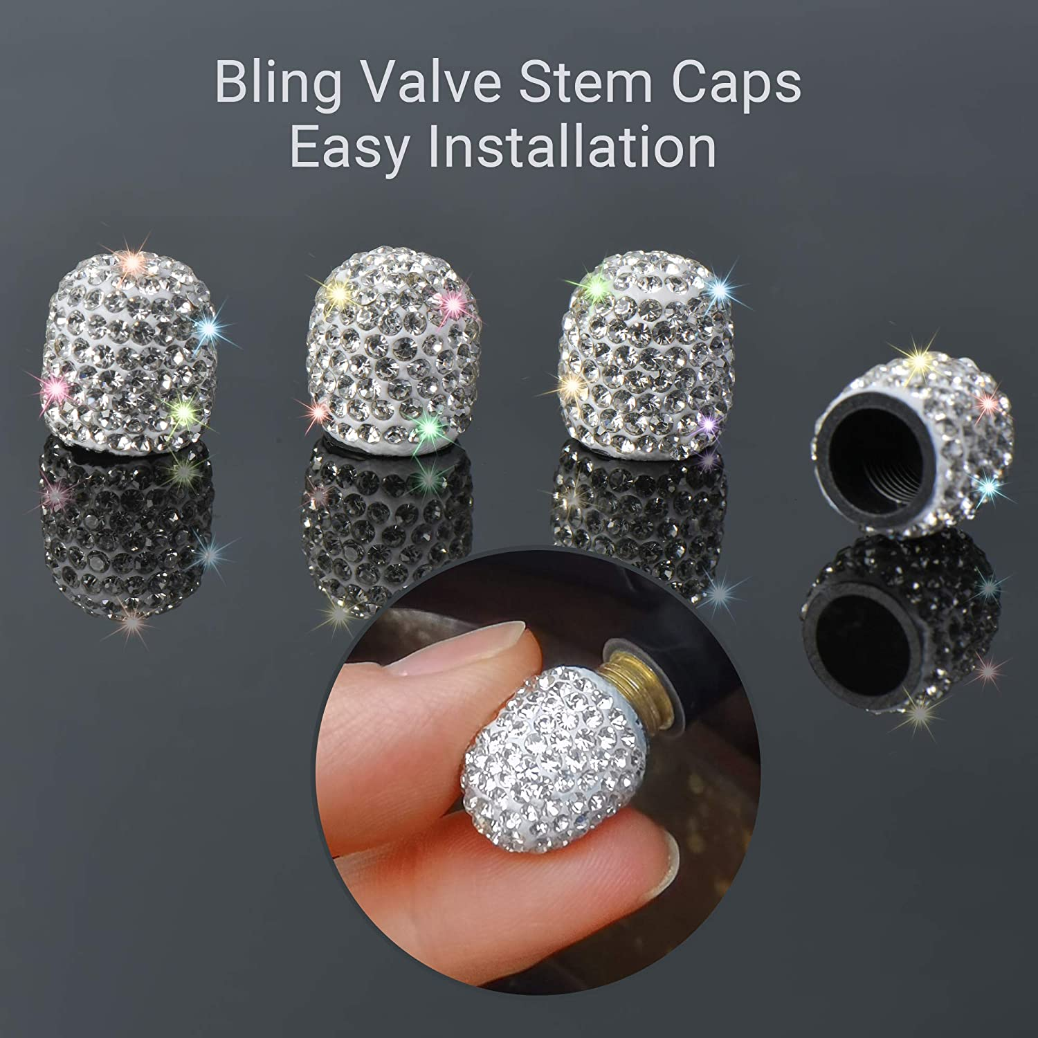 AntBooBoo 4 Pack Bling Tire Valve Caps with 2 PCS Crystal Engine Start Stop Button Ring Girly White Rhinestone Attractive Dustproof Car Tire Valve Caps Chrome Interior Decoration for Girl//Women