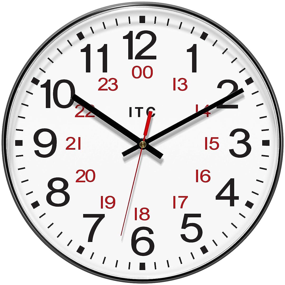 "INFINITY/ITC 90/1224-1 Combination 12/24 Hour Clock, 12"" Diameter"