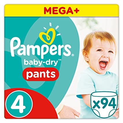 Pampers - Baby Dry Pants - Juego de 94 pañales desechables, talla 4 (8
