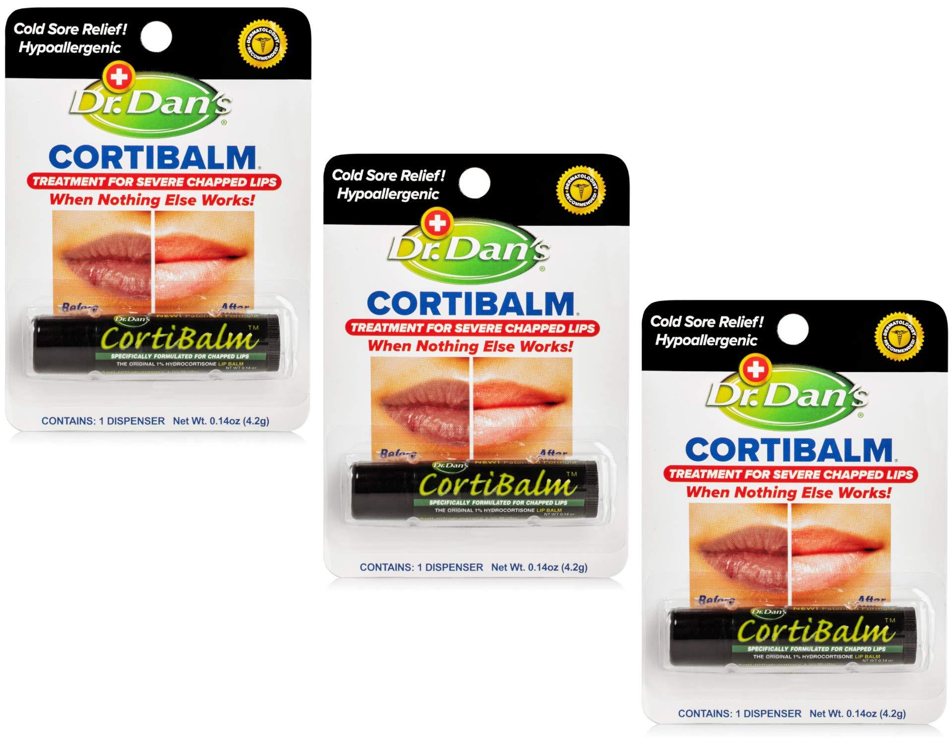 Dr. Dans CortiBalm Lip Balm Patented Formula 0.14 Ounces (3-Pack)