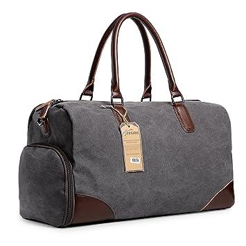 85b448e9259fe Groß Weekender Taschen Reisetasche Canvas Retro Leder Handgepäck  Sporttasche mit Schuhfach für Herren Damen Outdoor Gym