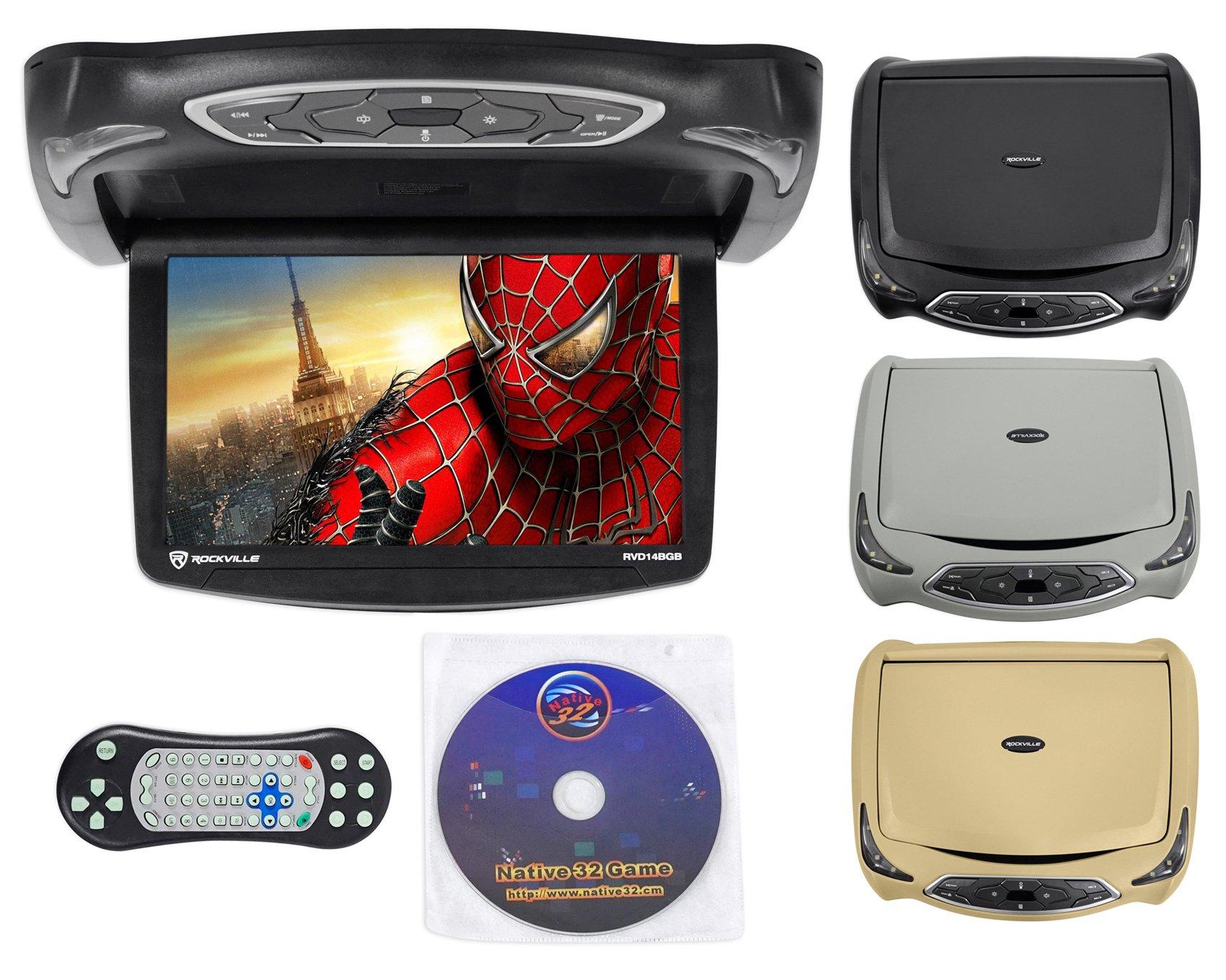 Rockville RVD14BGB Black/Grey/Tan 14'' Flip Down Car Monitor W DVD/HDMI/Games/USB by Rockville