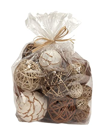 bag of natural fiber decorative balls spheres orbs - Decorative Orbs