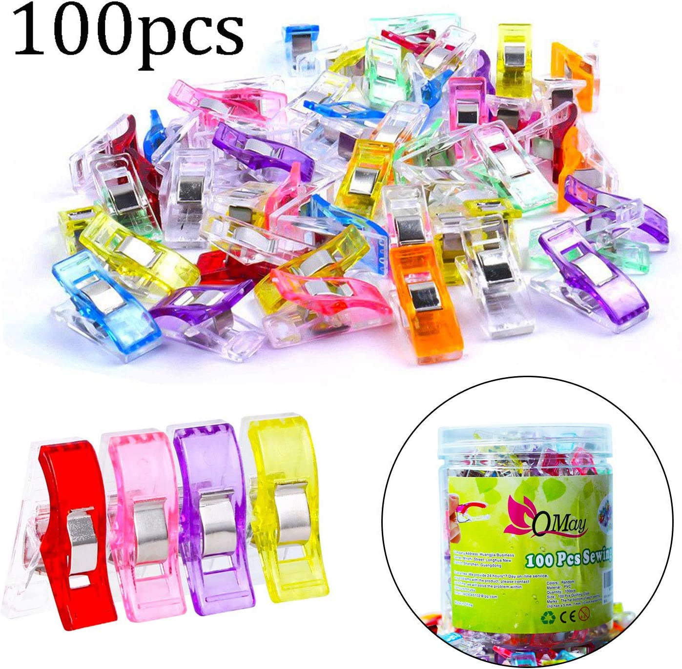 100 PCS Colorful Multi-Purpose Craft Clips Sewing Quilting Crafts Wonder Clips