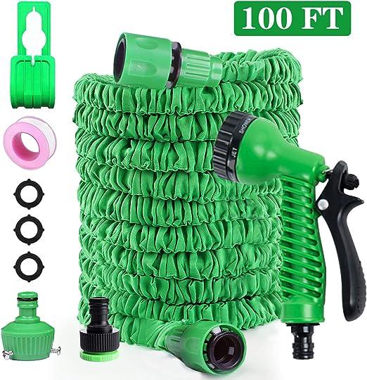 FRGHF Manguera de Jardín Extensible, Mangueras de Jardín con 8 Funciones Jardín Ducha de Mano Manguera de Jardín Extensible para Lavado de Autos y Limpieza (100FT, Verde): Amazon.es: Jardín