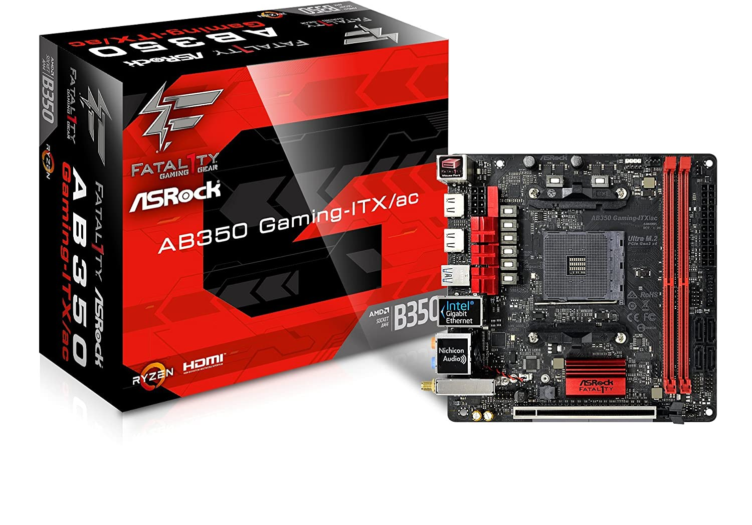 ASRock Fatal1ty AB350 Gaming-ITX/AC - Placa Base Gaming Mini-ITX (Socket AM4, 2X DDR4, Máx. 32GB, 2X HDMI, 4X SATA3, 1x Ultra M.2 (PCIe Gen3 x4), 1x ...