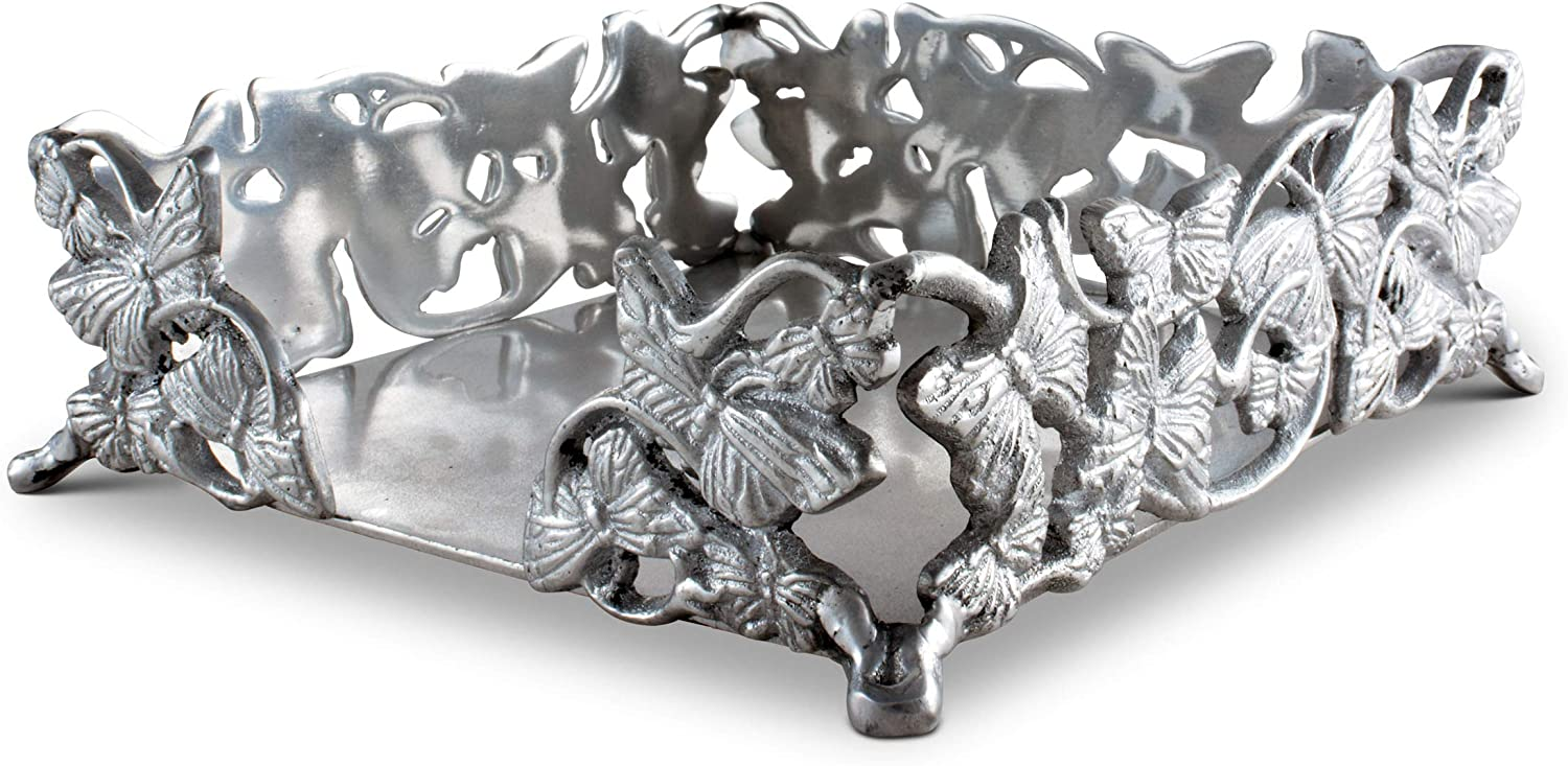 """Arthur Court Napkin Holder Box Butterfly Cast Aluminum Lunchon Size   Perfect for all sizes of Large Lunch Square Spring/Outdoor Napkins 7"""" x 7"""""""