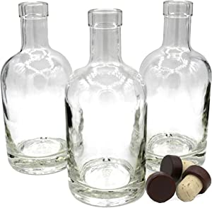Midwest Spice Company Nordic Bottles - 3 Pack - 375ml (12oz.) Bottles with Dark Wood Bar Top Cork Caps