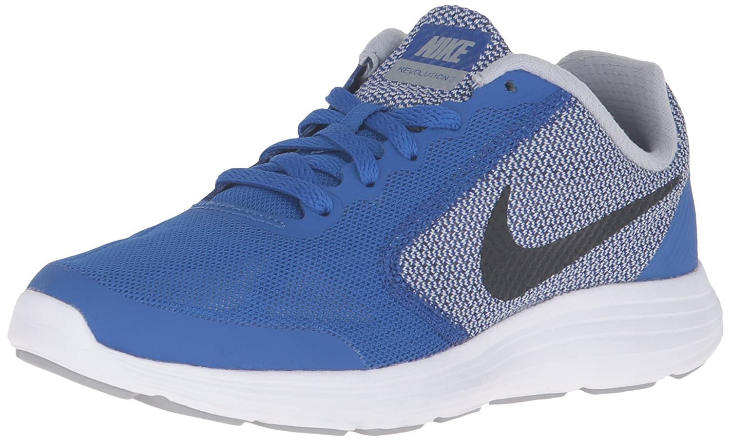 NIKE ' Revolution 3 (GS) Running Shoes B007I847HE 4 Big Kid M|Game Royal/Black/Wolf Grey/White