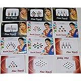 12 Pack Indian Art Bollywood Reuseable Bindi Self Adhesive Body Stickers/tattoo