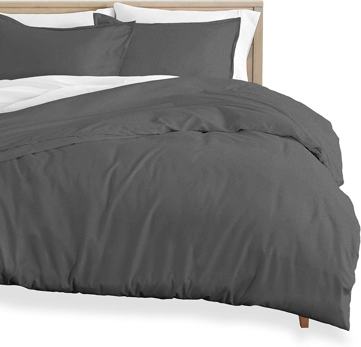 Bare Home Flannel Duvet Cover and Sham Set - Twin/Twin Extra Long - 100% Cotton, Velvety Soft Heavyweight, Double Brushed Flannel (Twin/Twin XL, Grey)