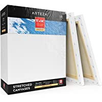 """Arteza 11x14"""" Stretched White Blank Canvas, Bulk Pack of 8, Primed, 100% Cotton for Painting, Acrylic Pouring, Oil Paint & Wet Art Media, Premium - 8 Pack"""