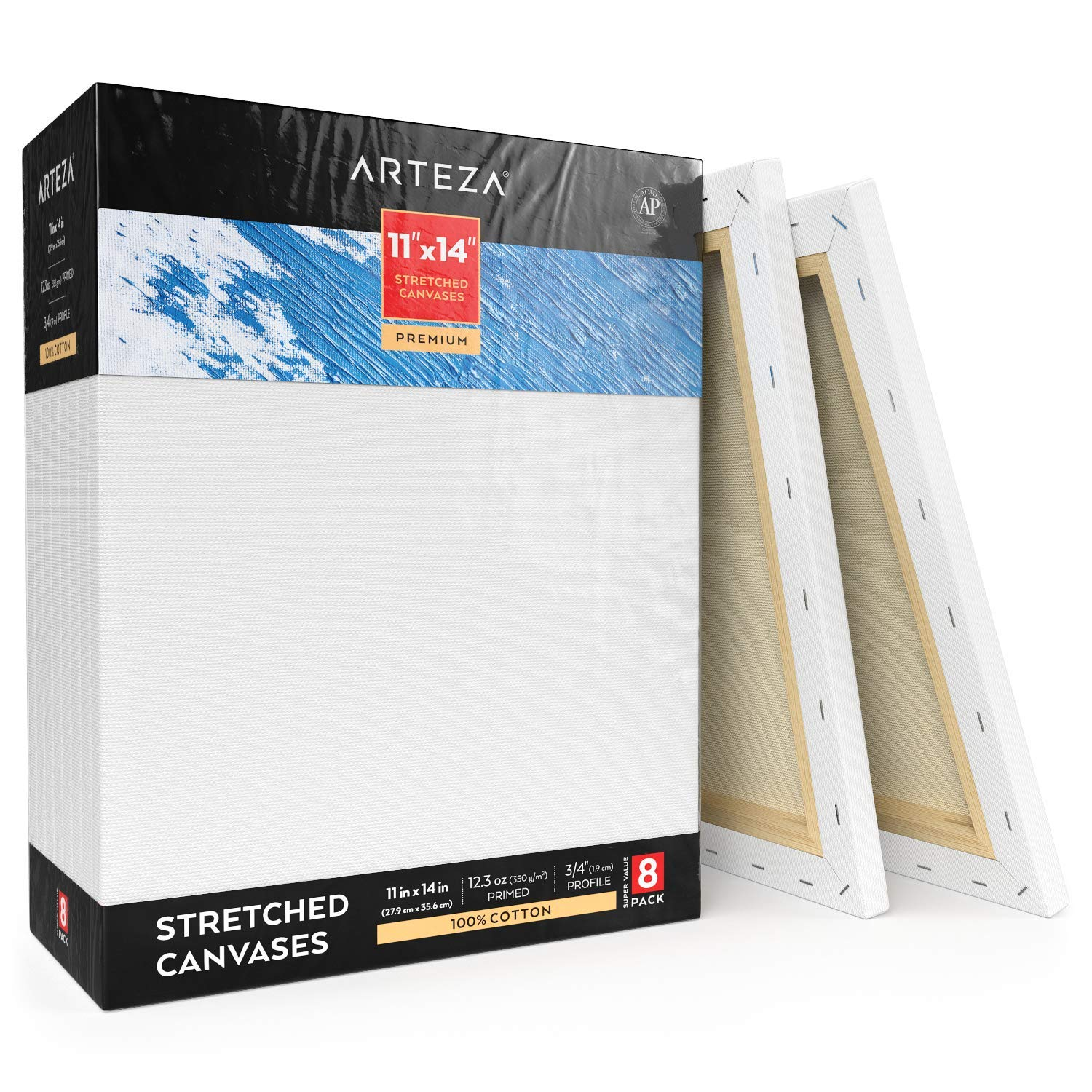 Arteza 11x14'' Professional Stretched White Blank Canvas, Bulk Pack of 8, Primed, 100% Cotton for Painting, Acrylic Pouring, Oil Paint & Wet Art Media, Canvases for Artist, Hobby Painters & Beginner by ARTEZA