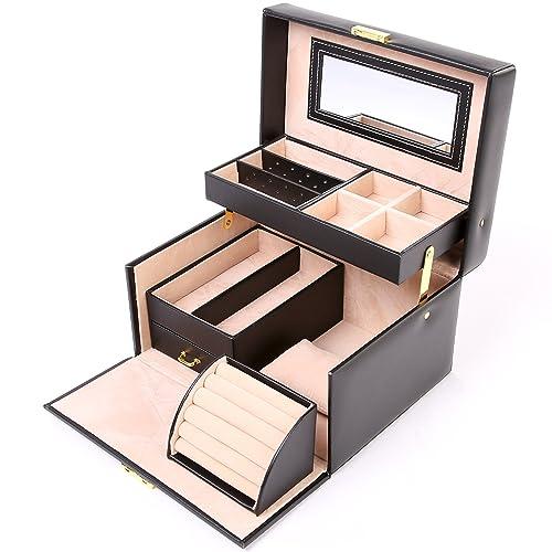 TRESKO® Joyero | Caja para Joyas | Estuche de Joyas | con cojín para Pulseras o Relojes - De Cuero sintético Amplio cajón y asa para Transportar - ...