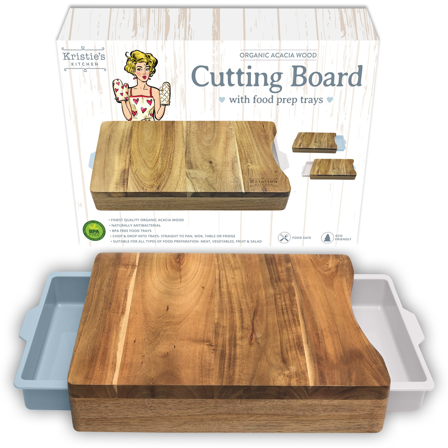 Cutting Board with Trays - Organic Acacia Wood Butcher Block with Containers White Pale Blue Iconic Products USA Chopping-Board-2017