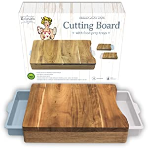 Cutting Board with Trays - Organic Acacia Wood Butcher Block with Containers White Pale Blue - Naturally Antimicrobial - For Meat Vegetables Bread or Cheese Board