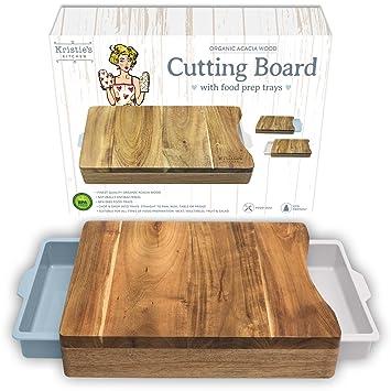 Tabla de cortar con bandeja - Tabla de cortar acacia - Tabla cocina madera -Tabla