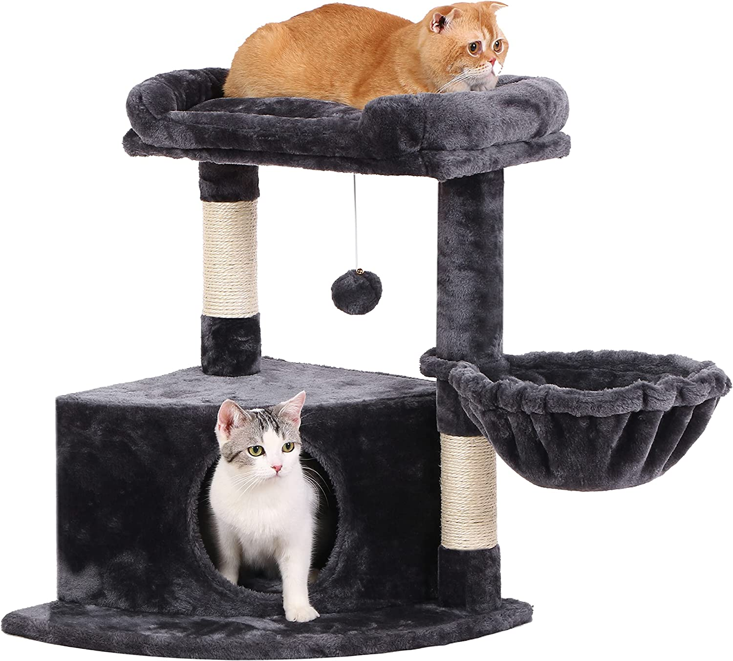 BEWISHOME Cat Tree Condo Fort Worth Mall with Popular Sisal Tower Plush Perch Sc