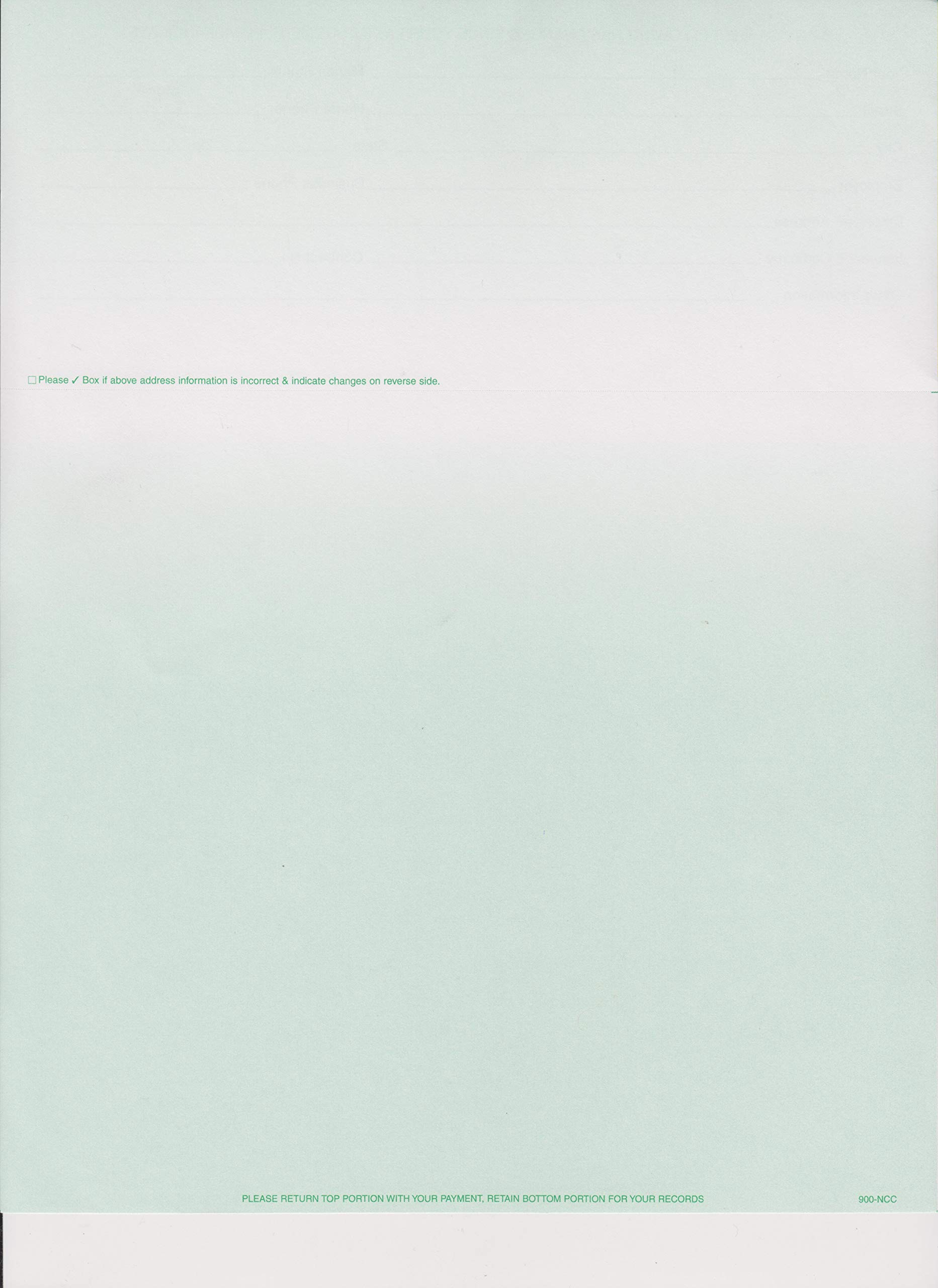 2500 COLORED BLANK PERFORATED STATEMENT PAPER WITHOUT CREDIT CARDS (GREEN)