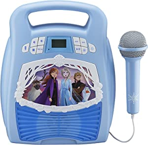 eKids Frozen 2 Bluetooth Portable MP3 Karaoke Machine Player with Light Show and Recording Feature - Store Hours of Music with Built in Memory Sing Along Using The Real Working Microphone