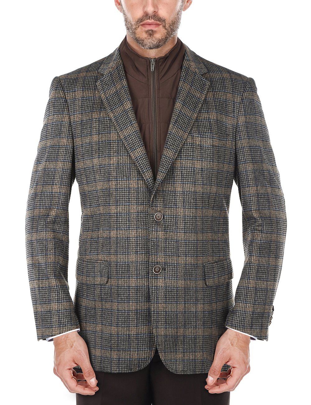 Chama Men's Plaid Wool Blazer, Sports Coat with Removable Bib (Brown, 42L)
