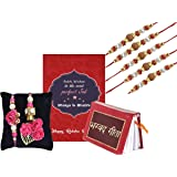 Chandrika Pearls Gems & Jewellers Multicolour Non-Precious Metal Crystal Studded Rakhi for Brother (Multicolour) - Set of 5