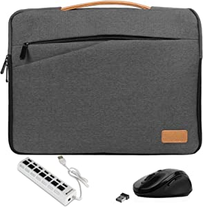Slim 15.6-inch Laptop Sleeve, Mouse, USB Hub for Lenovo Creator 7, V Series V130 V730, ThinkBook 15